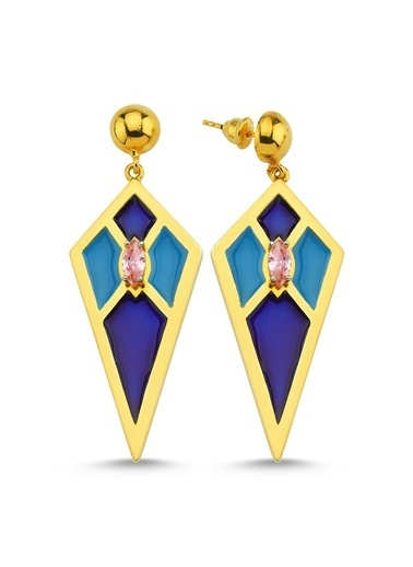 Reian Jewelry Audrey B Blue Küpe Altın
